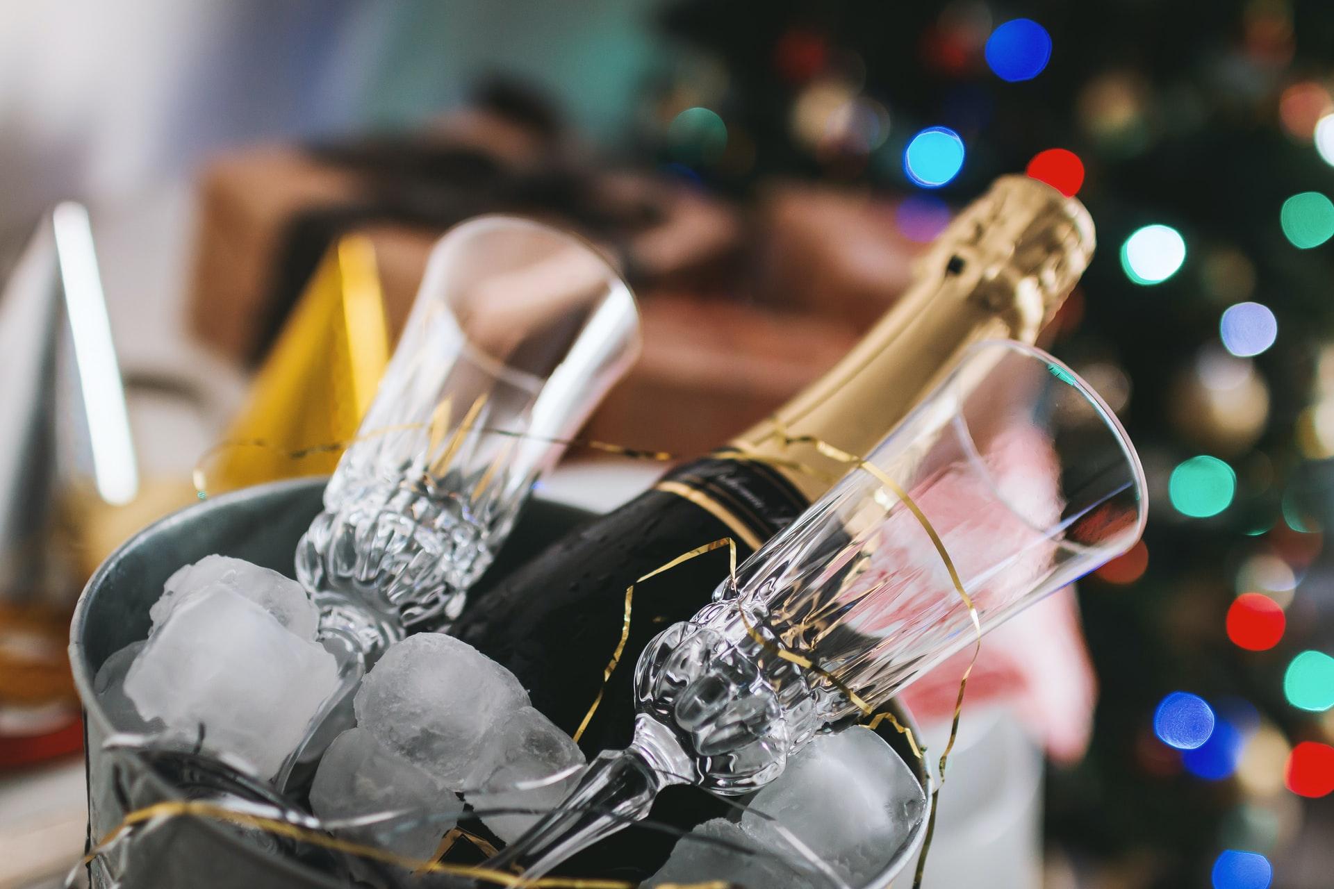 アイスペール、ワイン、シャンパーニュ、グラス
