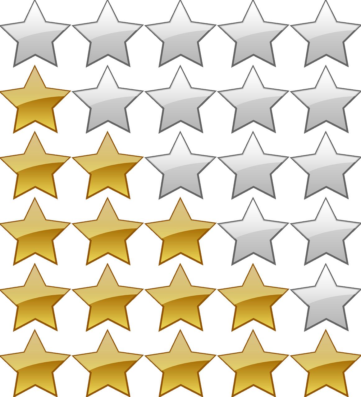 5つ星、レーティング、スター