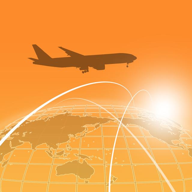 飛行機、地図